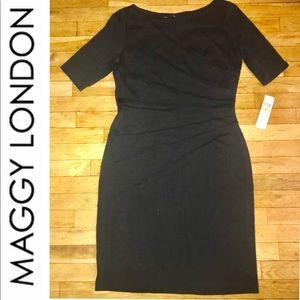 Maggy London LBD Black Dress Pintuck design NWT 14